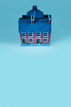 Stephen Mulcahey model miniature house on blue background Miscellaneous Objects