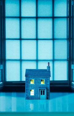 Stephen Mulcahey miniature model house on a window ledge Miscellaneous Objects