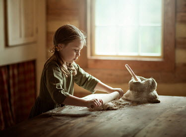 Lilia Alvarado LITTLE GIRL MAKING PASTRY IN KITCHEN Children