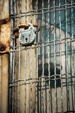 Richard Nixon RUSTY PADLOCK ON METAL GATE Gates