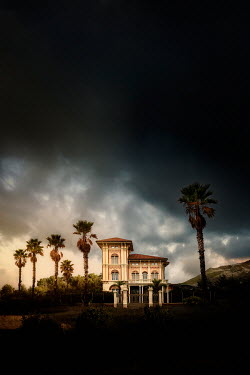 Yolande de Kort ITALIAN VILLA WITH PALM TREES IN STORM Houses