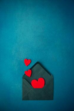 Svetlana Bekyarova THREE RED HEARTS WITH BLUE ENVELOPE Miscellaneous Objects