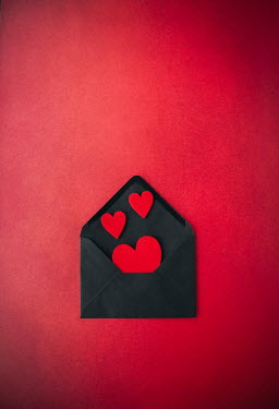 Svetlana Bekyarova THREE RED HEARTS IN BLACK ENVELOPE Miscellaneous Objects