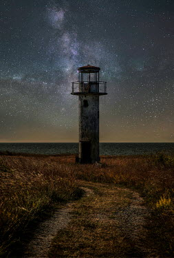 Jaroslaw Blaminsky LOOKOUT TOWER BY SEA WITH STARRY SKY Miscellaneous Buildings