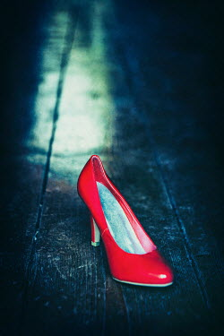 Magdalena Russocka ONE RED SHINY STILETTO ON FLOORBOARD Miscellaneous Objects