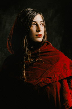 Chad Michael Ward SERIOUS WOMAN IN RED VELVET CLOAK Women