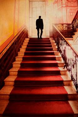 Yolande de Kort SILHOUETTE OF MAN ON GRAND STAIRCASE Men