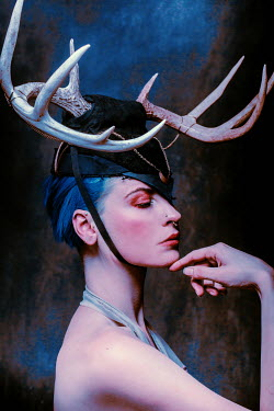 Chad Michael Ward WOMAN IN HAT WITH ANTLERS AND BLUE HAIR Women