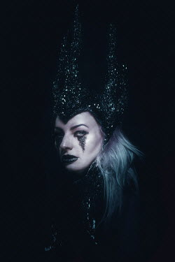 Chad Michael Ward WOMAN WITH BLACK GOTHIC CROWN AND GLITTER Women