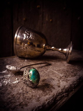 Jane Morley GOBLET, RING AND SPOON WITH POISON ON BOOK Miscellaneous Objects