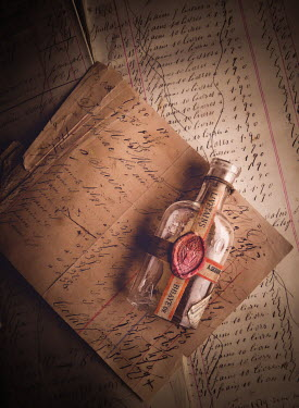 Jane Morley BOTTLE LYING ON OLD LEDGERS Miscellaneous Objects