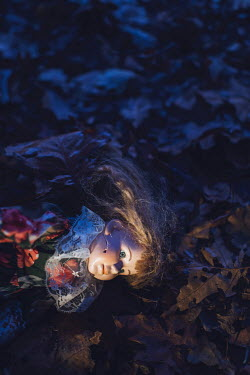 Ysbrand Cosijn RETRO DOLL LYING IN LEAVES AT NIGHT Miscellaneous Objects