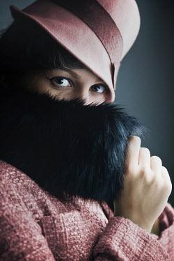 Ildiko Neer RETRO WOMAN STARING IN  FUR COLLAR AND HAT Women