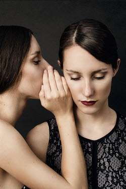 Elena Bovo BRUNETTE WOMAN  WHISPERING TO ANOTHER GIRL Women