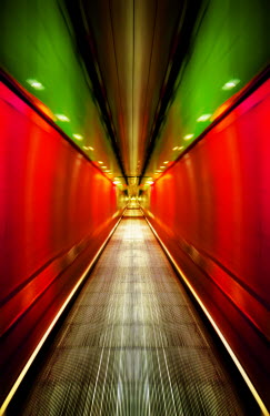 Svetlana Sewell ESCALATOR IN UNDERGROUND WITH GREEN AND RED LIGHT Stairs/Steps
