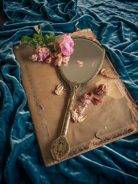 Jane Morley OLD BOOK WITH MIRROR AND WILTED ROSES Flowers
