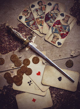 Jane Morley ANTIQUE DAGGER WITH CARDS AND MONEY ON TABLE Weapons