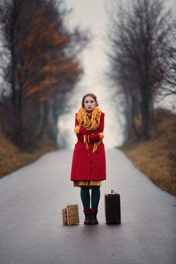 Magdalena Russocka GIRL WITH SUITCASE AND BOOKS ON COUNTRY ROAD Women