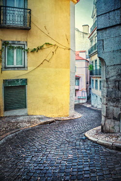 Evelina Kremsdorf EMPTY COBBLED STREET IN LISBON Specific Cities/Towns