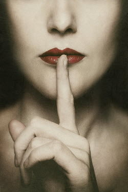 Elena Bovo WOMAN WITH FINGER ON LIPS Women