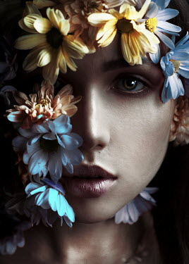 Kirill Sakryukin FACE OF WOMAN COVERED WITH FLOWERS Women