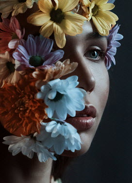 Kirill Sakryukin FEMALE FACE COVERED WITH FLOWERS Women