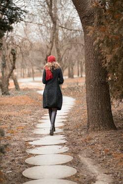 Galya Ivanova BLONDE WOMAN WALKING IN AUTUMNAL PARK Women