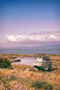 Jill Battaglia Rusty boat by country lake Boats