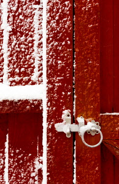 Svetlana Sewell CLOSE UP OF RED GATE WITH SNOW Gates