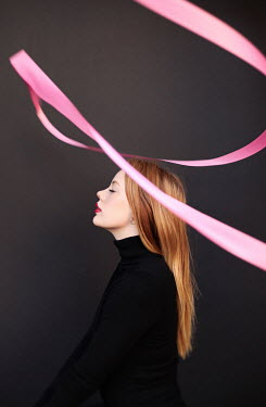 Buffy Cooper YOUNG MODERN WOMAN WITH PINK RIBBON Women