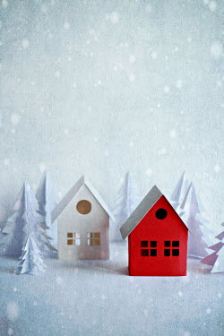Jasenka Arbanas WHITE AND RED PAPER HOUSES WITH TREES AND SNOW Miscellaneous Objects
