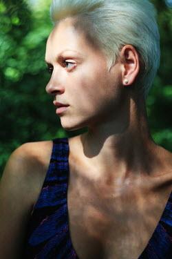Ilona Shevchishina BLONDE CONTEMPORARY WOMAN IN SUMMERY GARDEN Women