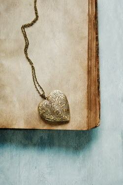Ildiko Neer Gold locket on opened book Miscellaneous Objects
