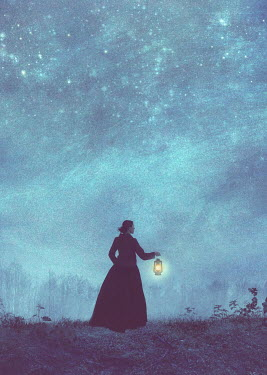 Drunaa victorian woman with lantern at night Women