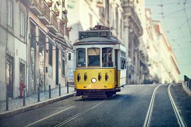 Evelina Kremsdorf tram car on european city street Miscellaneous Transport