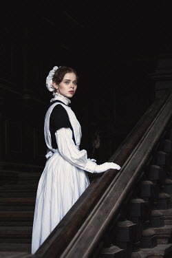 Magdalena Russocka YOUNG HISTORICAL HOUSE MAID ON STAIRCASE Women