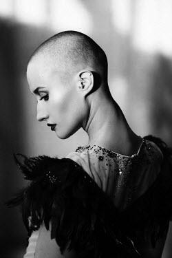 Elena Alferova WOMAN WITH SHAVEN HEAD IN BALLGOWN Women