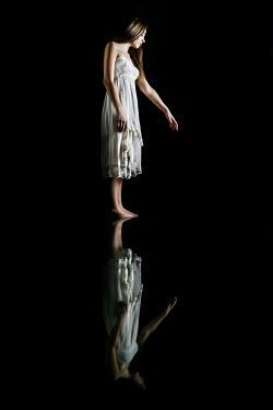 Stephen Carroll REFECTION OF BAREFOOT GIRL IN WHITE DRESS Women