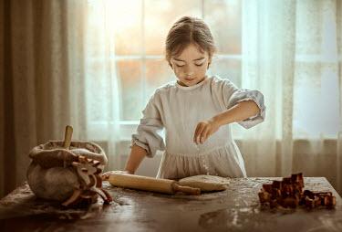 Lilia Alvarado LITTLE GIRL MAKING COOKIES Children