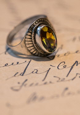 Jaroslaw Blaminsky SILVER RING WITH YELLOW JEWEL ON LETTER Miscellaneous Objects