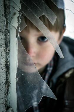 Stephen Carroll LITTLE BOY HIDING BEHIND BROKEN WINDOW Children