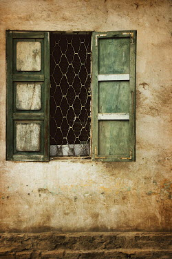Irene Lamprakou OLD WINDOW WITH GREEN SHUTTERS Building Detail