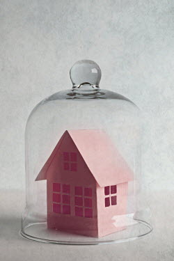 Jasenka Arbanas PINK PAPER HOUSE UNDER GLASS DOME Miscellaneous Objects