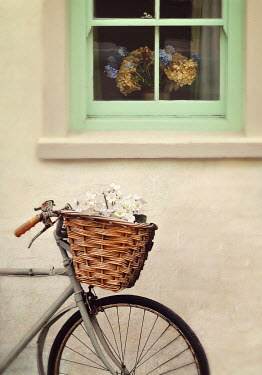Lyn Randle BICYLE WITH FLOWERS OUTSDE WINDOW OF HOUSE Miscellaneous Transport