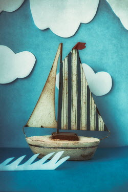 Sally Mundy MODEL BOAT ON SEA WITH CLOUDS Miscellaneous Objects