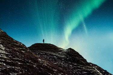 Evelina Kremsdorf SILHOUETTED MAN ON HILL WITH NORTHERN LIGHTS Men