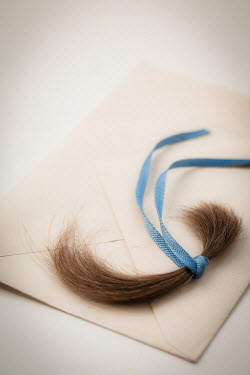 Jan Bickerton LOCK OF HAIR WITH RIBBON ON ENVELOPE Miscellaneous Objects