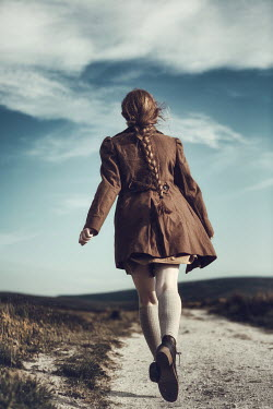 Magdalena Russocka RETRO GIRL RUNNING ON COUNTRY PATH Children