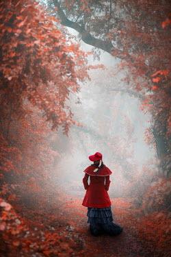 Ildiko Neer VICTORIAN WOMAN WALKING IN AUTUMN COUNTRYSIDE Women