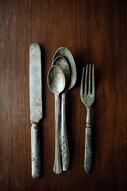 Susan O'Connor OLD FORK AND SPOONS ON TABLE Miscellaneous Objects